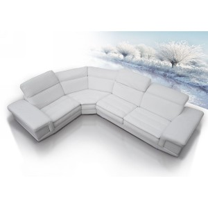 Dima Queen Full Top Grain Italian Leather Sectional Sofa Set with Built-In iPhone Dock & Speakers
