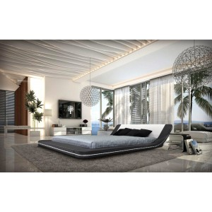 Marquee - Contemporary Eco-Leather Platform Bed with LED Lights
