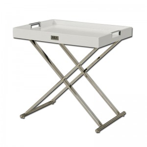 A&X Cecilia White Crocodile Tray Table