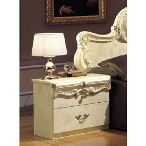Barocco - Traditional Glossy Ivory Nightstand