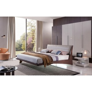 Modrest Volterra - Contemporary Brown Oak Floating Bed With Grey Headboard and Lights