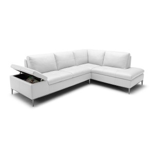Divani Casa Gardenia - Modern White Sectional Sofa with Chaise