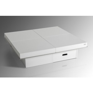 A&X Horizon - Modern White Crocodile Coffee Table w/ Pull Out Squares