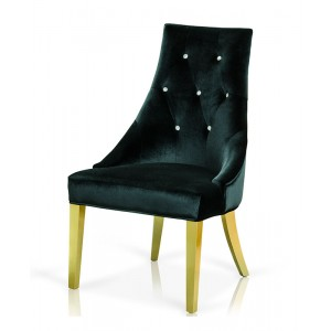 A&X Charlotte Black Velour With Gold Legs Dining Chair