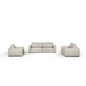 Estro Salotti Iseo Modern Grey Leather Sofa Set