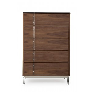 Nova Domus Ria Contemporary Brown Eco-Leather & Walnut Chest