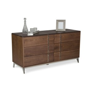 Nova Domus Ria Contemporary Brown Eco-Leather & Walnut Dresser