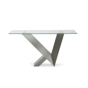 Modrest Harlow Modern Glass & Stainless Steel Console Table
