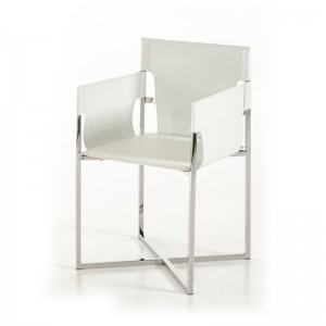 Modrest Jones Modern White Eco-Leather Dining Chair