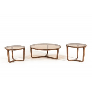 Modrest Jordi Modern 3-Piece Walnut Coffee Table Set