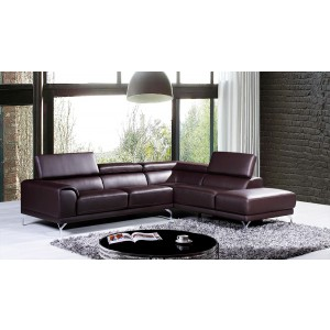Divani Casa Wisteria Modern Brown Leather Sectional Sofa w/ Right Facing Chaise
