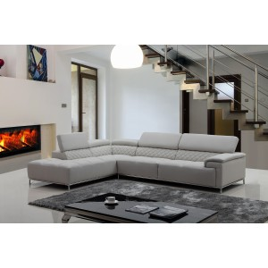 Divani Casa Citadel Modern Light Grey Eco-Leather Sectional Sofa w/ Audio System
