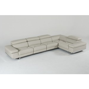 Divani Casa Kerria Modern Light Grey Eco-Leather Sectional Sofa