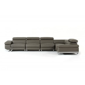Divani Casa Kerria Modern Dark Grey Eco-Leather Sectional Sofa