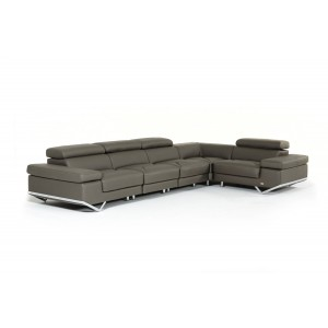 Divani Casa Kerria Modern Dark Grey Eco-Leather Sectional Sofa w/ Audio System