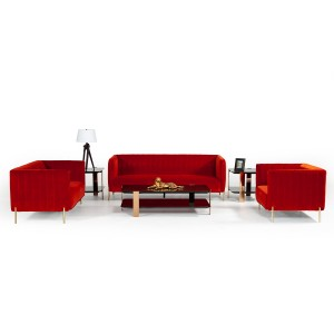 Divani Casa Karla Modern Red-Orange Velvet Sofa Set