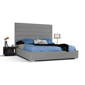 Modrest Leilah Transitional Tufted Fabric Bed Without Crystals Modern Bedroom Bedroom