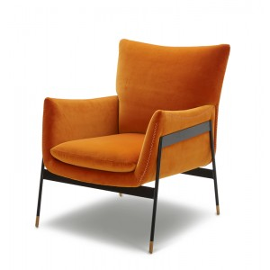 Divani Casa Joseph Modern Orange Fabric Accent Chair