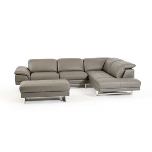 Divani Casa Foxglove Modern Grey Eco-Leather Sectional & Ottoman