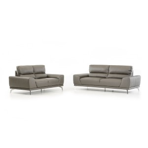 Divani Casa Thyme Modern Grey Eco-Leather Sofa Set