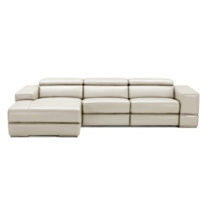 Divani Casa Hilgard Modern Light Grey Leather Sectional Sofa w/ Recliners