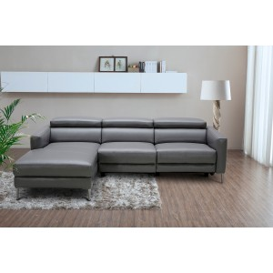 Divani Casa Booth Modern Dark Grey Leather Sectional Sofa w/ Electric Recliner