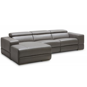 Divani Casa Hilgard Modern Dark Grey Leather Sectional W/ Recliner