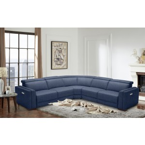 Divani Casa Frazier Modern Blue Fabric Sectional w/ Electric Recliners