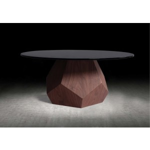Modrest Rackham Modern Walnut & Smoked Glass Coffee Table