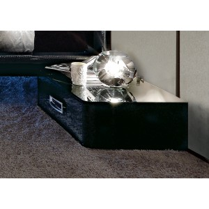 LA Star Modern Black 1-Drawer Nightstand