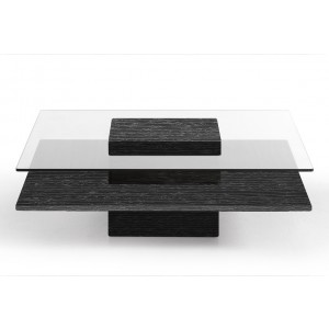 Modrest Clarion Modern Grey Elm & Glass Coffee Table