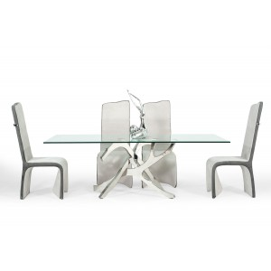 Modrest Legend Modern Glass & Stainless Steel Dining Table