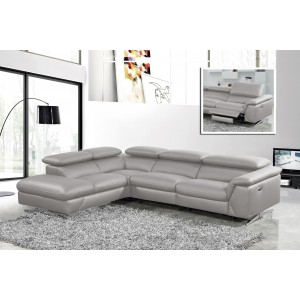 Divani Casa Maine - Modern Medium Grey Eco-Leather LAF Chaise Sectional Sofa w/ Recliner