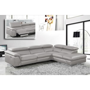 Divani Casa Maine - Modern Medium Grey Eco-Leather RAF Chaise Sectional Sofa w/ Recliner