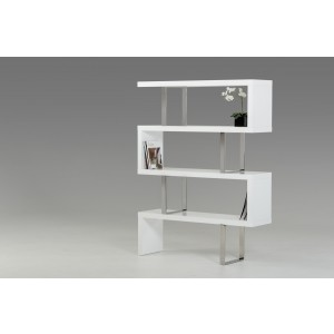 Modrest Maze Modern White High Gloss Bookcase