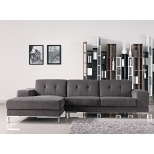 Divani Casa Forli Modern Grey Fabric Sectional Sofa w/ Left Facing Chaise