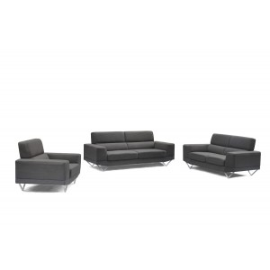 Divani Casa Wendon Modern Grey Fabric Sofa Set