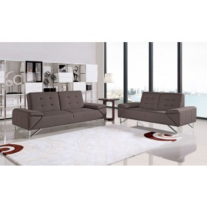 Divani Casa Briza Modern Brown Fabric Sofa Bed Set