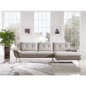 Divani Casa Indio Modern 2-Tone Grey Fabric Sectional Sofa