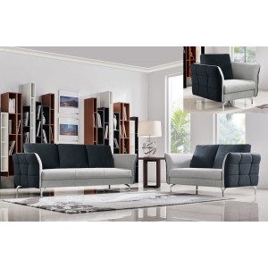 Divani Casa Torey Modern Dark Grey & Light Grey Fabric Sofa Set