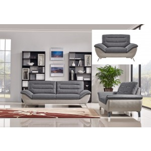 Divani Casa Verdugo Modern Grey Fabric Sofa Set