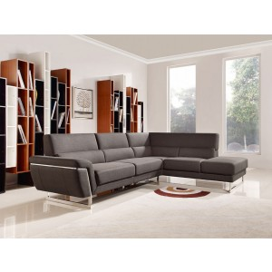 Divani Casa Navarro Modern Brown Fabric Sectional Sofa w/ Right Facing Chaise