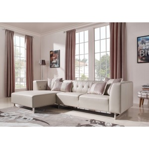 Divani Casa Carolina Modern Leatherette & Fabric Sectional Sofa