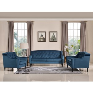 Divani Casa Carly Transitional Blue Velour Sofa Set