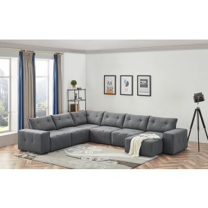 Divani Casa Campton Contemporary Grey Tufted Fabric Modular Sectional