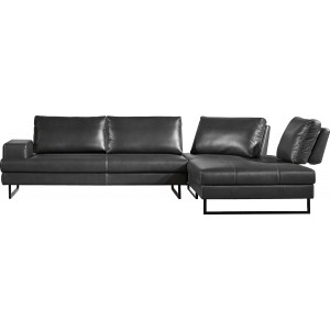 Divani Casa Bowery Modern Grey Leatherette Sectional Sofa