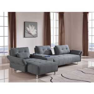 Divani Casa Testro Modern Grey Fabric Sectional Sofa W/ Storage