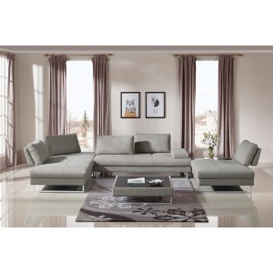 Divani Casa Baxter Modern Grey Fabric Sectional Sofa & Coffee Table Set