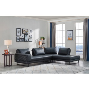 Divani Casa Signal Classic Transitional Contemporary Black Leather Sectional Sofa w/ Adjustable Backrests