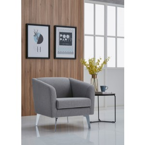 Divani Casa Preston Contemporary Grey Fabric Lounge Chair